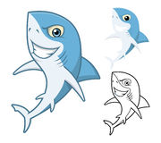 High Quality Shark Cartoon Character Include Flat Design and Line Art Version Stock Photo