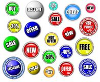 High Quality Shopping Button, Symbol, Sign Set Royalty Free Stock Photos