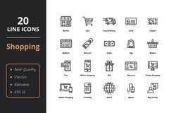 20 High Quality Shopping Icons. 20 shopping thin line icon. High quality shopping line icons. Icons for web and ui Stock Image