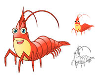 High Quality Shrimp Cartoon Character Include Flat Design and Line Art Version Stock Photo