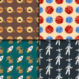High quality space planets flat vector illustration universe astronomy seamless pattern. Stock Images