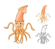 High Quality Squid Cartoon Character Include Flat Design and Line Art Version royalty free stock photos