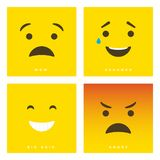 High quality vector cartoon set with wow, ashamed, big grin and angry emoticons with Flat Design Style, social media reactions -. Vector EPS10 royalty free illustration