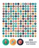 200 high quality vector flat icons. Set of 200 high quality vector flat icons Royalty Free Stock Photo