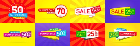 Big Set of Sale Sign Banner Poster ready for Web and Print. Vector. High Quality Vector Illustration in EPS 10 Stock Image