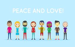 Peace and Love! Group of people diversity, diverse business men and business women standing on blue background. royalty free illustration