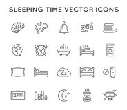 Set of Minimal Sleep Time Vector Line Icons. Perfect Pixel. Thin Stroke. Royalty Free Stock Photography