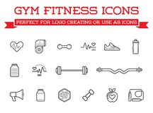 Set of Vector Fitness Aerobics Gym Elements and Fitness Icons Illustration can be used as Logo or Icon in premium quality. High Quality Vector Illustration in Royalty Free Stock Photo