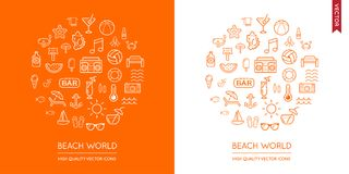 Vector Set of Beach Modern Flat Thin Icons Inscribed in Round Shape Stock Photo