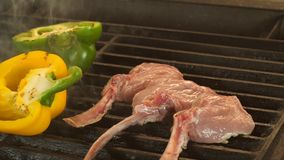 High quality video of grilled steaks in a real slow motion, the process of cooking mutton or veal on a bone and. Vegetables, through three beautiful even pieces royalty free stock photography