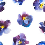 High Quality Watercolor Seamless Pattern Violet and Blue Flower of Pansy, Hand drawn design Royalty Free Stock Photography