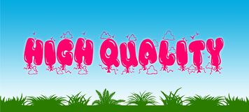 HIGH QUALITY written with pink balloons on blue sky and green grass background. Royalty Free Stock Images