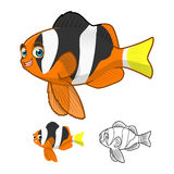 High Quality Yellowtail Clownfish Cartoon Character Include Flat Design and Line Art Version stock image