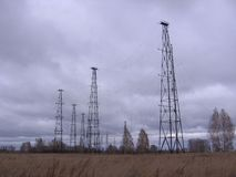 с русс high radio towers in the restricted area on the radio station stock images