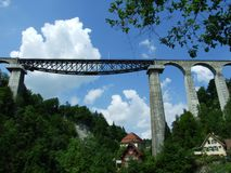A high rail bridge across the river Sitter. In St. Gallen stock images