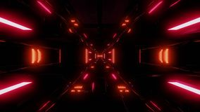 High reflective futuristic scifi tunnel with dark atmosphere stock illustration