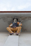 High Relief Sculpture of American Cowboy decorated with ceramic, Stock Photo