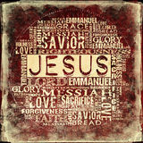 Jesus Religious Words on grunge background Royalty Free Stock Image