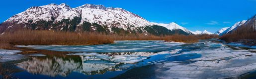 High Res Panorama of Alaskan Mountain Range near Anchorage. Royalty Free Stock Images