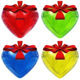 High resolution 3D hearts with ribbons Royalty Free Stock Photos