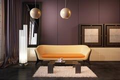 High resolution 3D render interior. High resolution 3D render purple interior Stock Photos