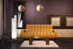 High resolution 3D render interior. High resolution 3D render purple interior Royalty Free Stock Images