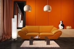 High resolution 3D render interior. High resolution 3D render orange interior Royalty Free Stock Photo