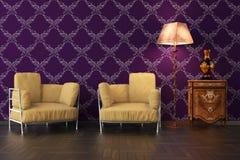 High resolution 3D render interior. High resolution 3D render purple interior Stock Images