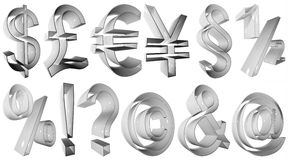 High resolution 3D symbols. Extremely high resolution 3D symbols rendered at maximum quality, for web design Royalty Free Stock Photography