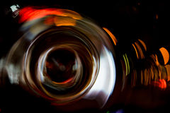 High resolution Abstract glowing circle motion blurred background in dark vivid red, green, yellow, blue Royalty Free Stock Images