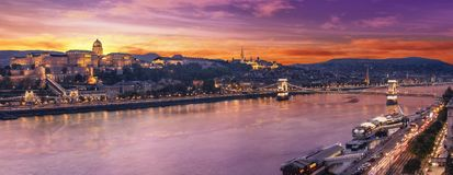 High resolution aerial panorama of Budapest, Hungary. Sunset over the city with the Chain Bridge, the Danube river and royalty free stock photos