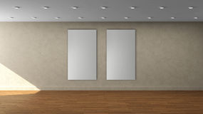 High resolution beige wall empty interior template with two white color vertical frame on front wall. Royalty Free Stock Photography