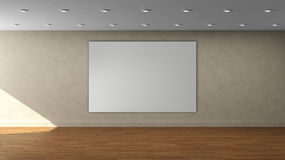 High resolution beige wall empty interior template with white color frame on front wall. Stock Image