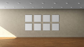 High resolution beige wall empty interior template with 8 white color square frame on front wall. This is the High resolution beige wall empty interior template stock illustration