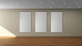 High resolution beige wall empty interior template with 3 white color vertical frame on front wall. This is the High resolution beige wall empty interior stock illustration