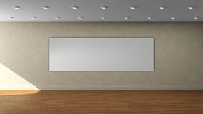High resolution beige wall empty interior template with white color wide frame on front wall. Royalty Free Stock Photography
