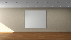 High resolution beige wall empty interior template with white square color frame on front wall. Royalty Free Stock Image