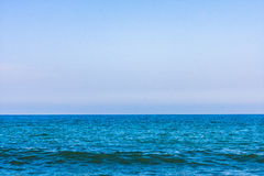 High resolution blue water and sky. Perfect blue sky and water, Black Sea, Bulgaria Royalty Free Stock Photography