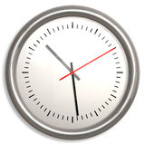 High resolution clock. White and chrome wall clock Royalty Free Stock Photography