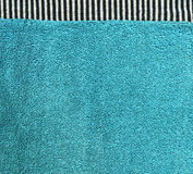 Cotton Fabric Texture - Aqua with Black & White Stripes Royalty Free Stock Images