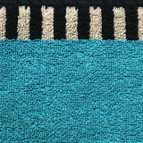 Cotton Fabric Texture - Aqua with Black & White Stripes Royalty Free Stock Photography