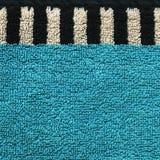 Cotton Fabric Texture - Aqua with Black & White Stripes Royalty Free Stock Image