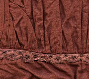 Cotton Fabric Texture - Brown with Decorations Stock Photos