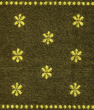 Cotton Fabric Texture -Khaki with Yellow Patterns Stock Photography