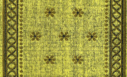 Cotton Fabric Texture -Yellow with Khaki Patterns Stock Image