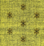 Cotton Fabric Texture -Yellow with Khaki Patterns XXXXL Stock Image