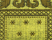 Cotton Fabric Texture -Yellow with Khaki Patterns Royalty Free Stock Images