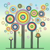 Bright and playful abstract colorful lollipop circles trees fun background illustration. High resolution computer generated lollipop circle abstract trees Stock Photos