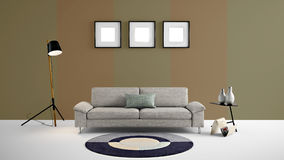 High resolution 3d illustration with brown and light brown color wall background and furniture. Stock Image