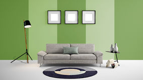 High resolution 3d illustration with green and light green color wall background and furniture. This is the High resolution 3d illustration with green and light Stock Photo